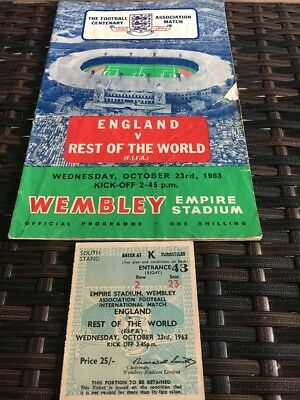England V Rest Of The World 23rd Oct 1963 With Match Ticket