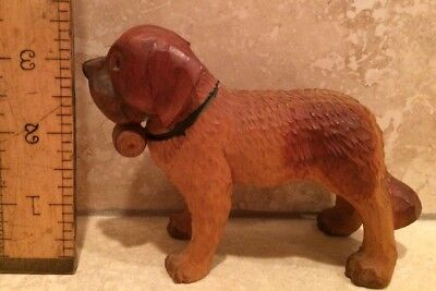 Vintage Dog Figurine Saint Bernard Hand-Carved Wood Painted W/ Keg