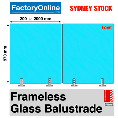 12mm Glass Balustrade Toughened Safety Frameless Fencing Spigots Deck Handrail