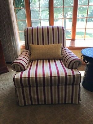 French Country Gold & Red Striped Upholstered chairs