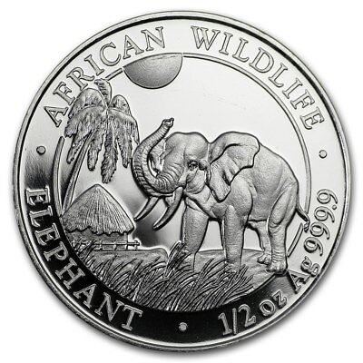 2017 Somalia 50 Shillings African Wildlife Elephant 1/2 oz .9999 Silver Coin