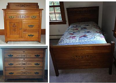 3pc 1800's Bedroom Set *Twin Bed+Dresser+WashStand  RARE!!