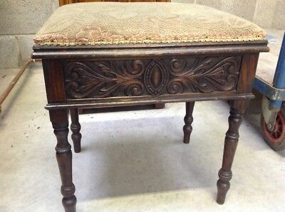 Antique edwardian carved piano stool