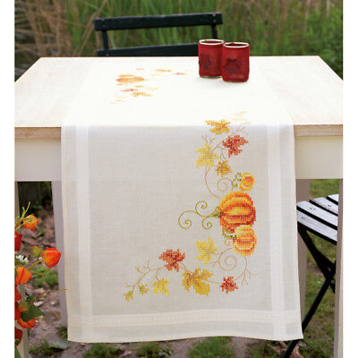 "Pumpkins Table Runner Stamped Cross Stitch Kit 16""X40"" V0148158"