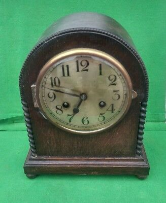 Early 20th Century 2 Train Arch Shaped Oak Cased Mantle Clock - Working