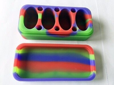 NEW Non Stick Silicone Mat compact compartments Silicone Container Jar dab Tool
