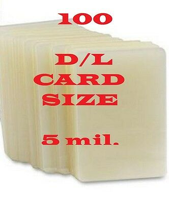 100 Card Size Quality Laminating Pouches Sheets 2-3/8 x 3-5/8  5 Mil
