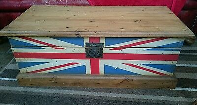 Strong Vintage Style Solid Wood Chest Storage Box with Union Jack Design.