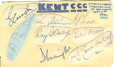 1950 KENT PLAYERS HAND-SIGNED ALBUM PAGE - AITCHISON, HEARN, DOVEY, COWDREY etc