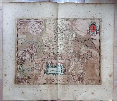 NORWAY NORTH STAVANGER 1662 by JOAN BLAEU LARGE COPPER ENGRAVED MAP XVII CENTURY
