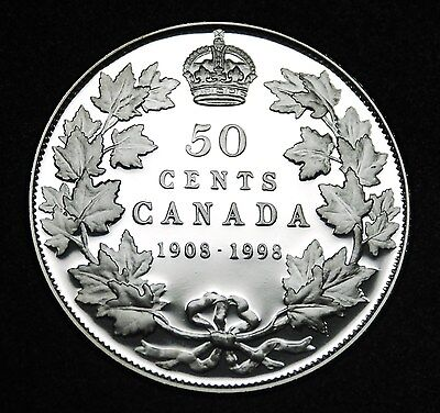 1908-1998 Canadian sterling silver 50¢ proof finish - gorgeous coin, rare