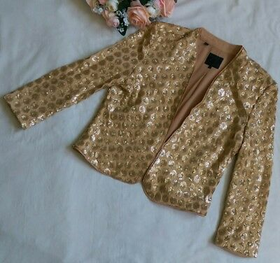 Womens Guess vintage gold sequin jacket blazer hook and eye sleek shimmer S 0814