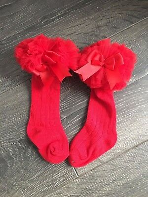 Baby girls cotton rich frilly frilled froufrou knee length long socks RED tutu
