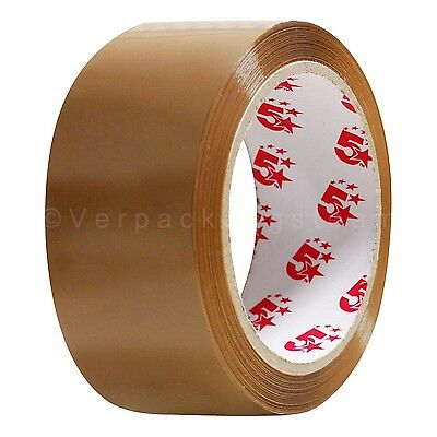 576x 5-Star Packing Tape Tape Pack Film 48mmx66m Loud Unrolling Brown