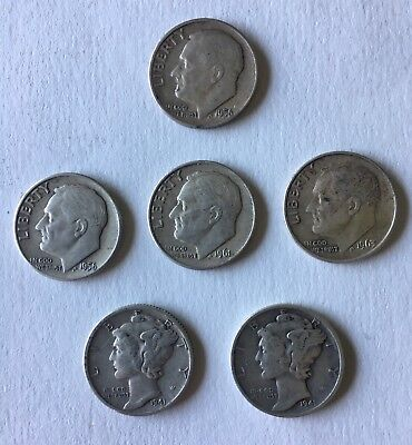 Lot of (6) Mercury and Roosevelt Dimes 1941S, 1941, 1961D, 1963, and (2) 1956