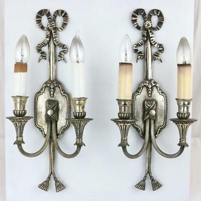 Pair Antique 1920s Silvered Sconces with Bows White metal Powder Room Rare VTG