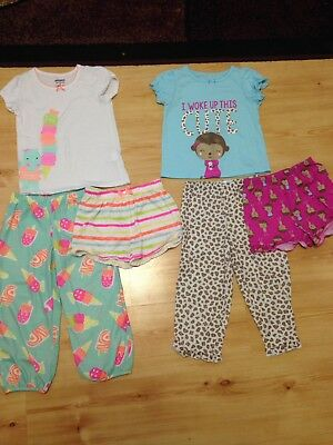 Carters Girls Size 4t Pajamas lot Of 2 Pjs Sets 3 Pieces Each
