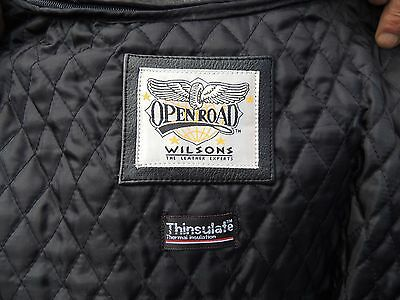 Black Leather Motorcycle Jacket  Men's Wilsons W/ Thinsulate Liner (Large)