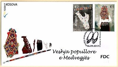 Kosovo Stamps 2017. Folk costumes of Medvegja, Etnology. FDC Set MNH