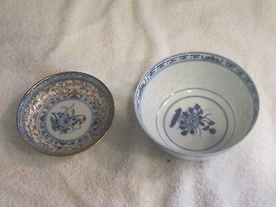 Lot of 2 Vintage Porcelain Chinese Bowls (Rice & Soup) Made in China w Markings
