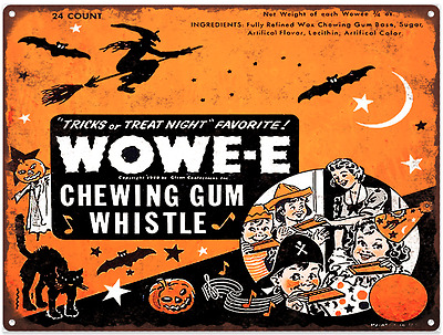 Wowe-e  Wowee Gum Halloween Candy Advertising Baked Metal Repro Sign 9x12 60121