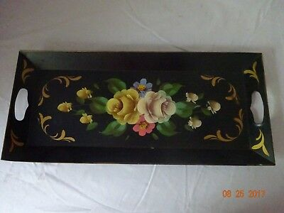 Hand Painted Tole Tray Vintage Condition