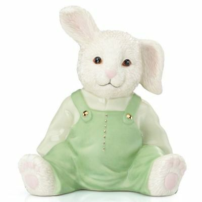 "$84 NEW Lenox My Boy Bunny Bank Ivory China Green 6"" ADORABLE BABY CHILD GIFT"