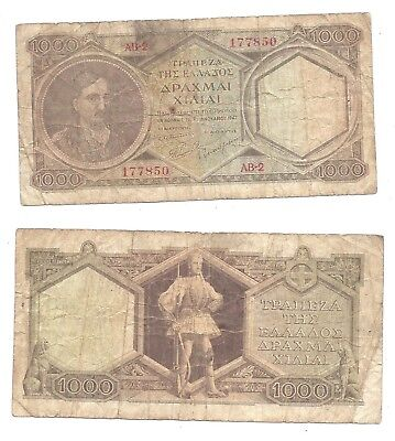 Greece 1000 Drachmai ND (1947) in (F-VF) Condition Banknote P-180