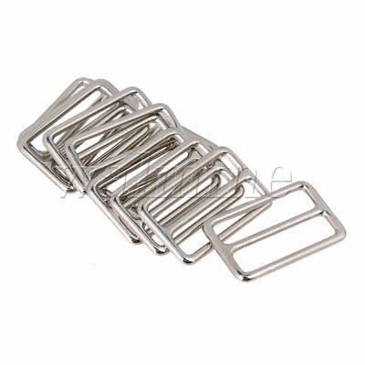 10pcs Silver Zinc Alloy Heavy Welded Triglides Buckles Metal Square Ring Buckle