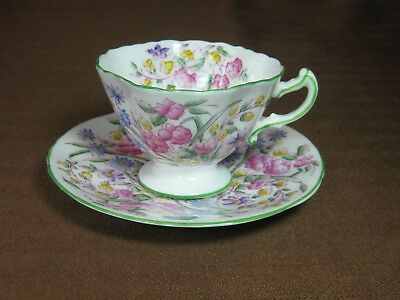 Hammersley Bridal Rose Demi Cup & Saucer Scalloped Multicolor Floral Green Trim