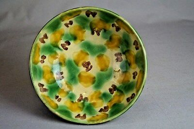 Antique Chinese Pottery Bowl Kangxi Style Qing Spinach & Egg Sancai