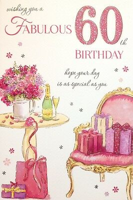 Fabulous 60th 60 Female Happy Birthday Card Luxury Card Verse Made In Uk