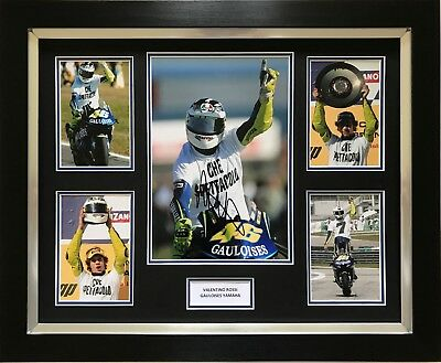 Valentino Rossi Hand Signed Gauloises Yamaha Motogp Framed Photo Display Proof