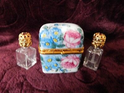 Limoges Hand Painted Peint Mein Perfume Chest Trinket Box