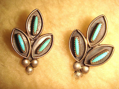 """Vintage Old Pawn  Zuni 1"""" Sterling Silver & Needlepoint Turquoise Earrings"""