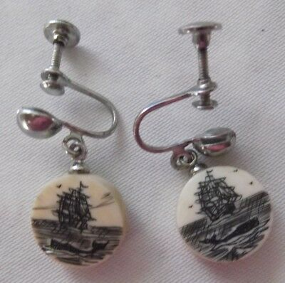 SCRIMSHAW Sailing Ships & Whales  EARRINGS Screwbacks Antique From Cape Cod