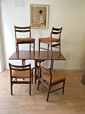 Retro Teak Drop Leaf Dining Table And Set Of 4 Chairs