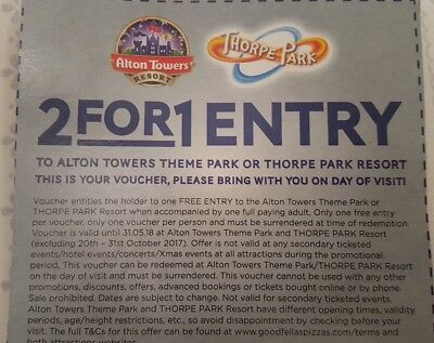 Thorpe Park / Alton Towers 2 for 1 Voucher