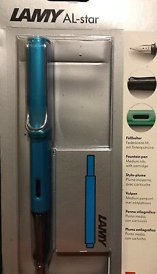 New, Sealed LAMY AL-STAR bright Turquoise Fountain Pen With Case And Ink