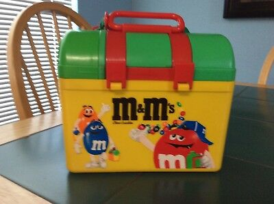 m&m lunchbox with thermos on top very rare and different
