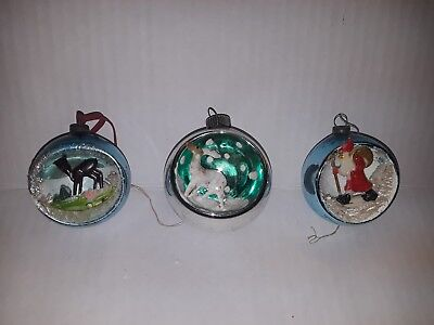 3 Vintage Mercury Glass Christmas Ornaments Indents Diarama Made In Japan