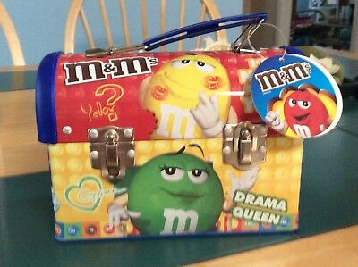 m&m Metal Lunchbox W/ Characters On Front & Back Plastic Handle Nwt