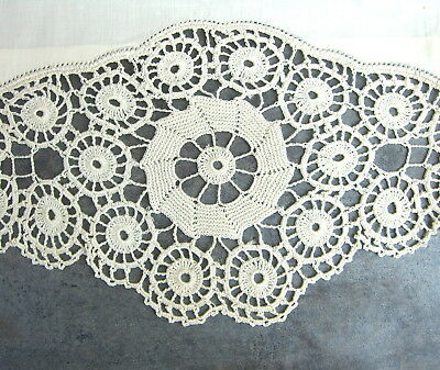 Antique Hand Crocheted Lace Coverlet Sheet 2 Pillowcases Vintage Linens Textiles