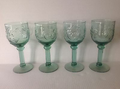 Four Depression Glass Green Goblets with Pressed Fruits Water/Wine