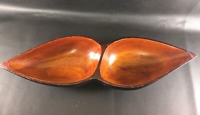 Vintage Wooden Nut Tray - Dish - 2 Sections - Beautiful Wood!