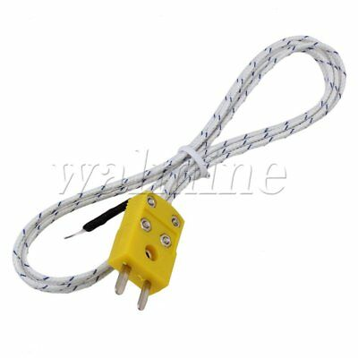 1Meter Thermocouple 0.5mm  Probe Sensors K Type Mini-Connector Fiberglass Cable