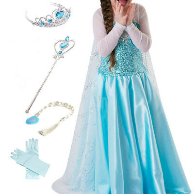 Kids Girls Dresses Elsa Frozen dress costume Princess party dresses+4PIECES