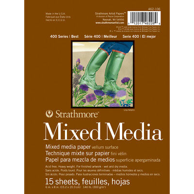 "Strathmore Mixed Media Vellum Paper Pad 6""X8"" 15 Sheets 62462106"