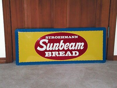 STROEHMANN SUNBEAM BREAD EMBOSSED METAL SIGN -- Super Excellent Condition