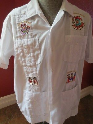 Vintage 70's Guyaberra Shirt Embroidered Royal Order of Jesters Halloween Large